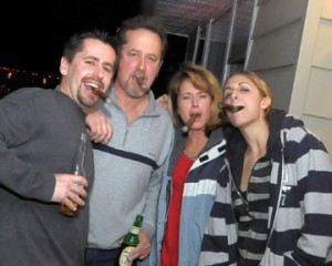 Nick, Mike, Joan and Nicole enjoy some of the premium cigars given out. Joan, does Wade know about this?!!