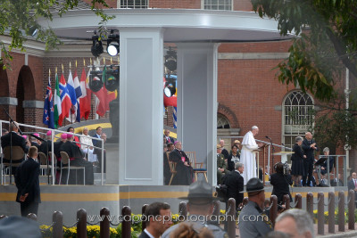 The Pope speaks to the crowd and dignitaries at Independence Mall